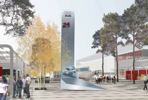 YES ARCHITECTURE., Audi Tower, Le Mans, Rendering